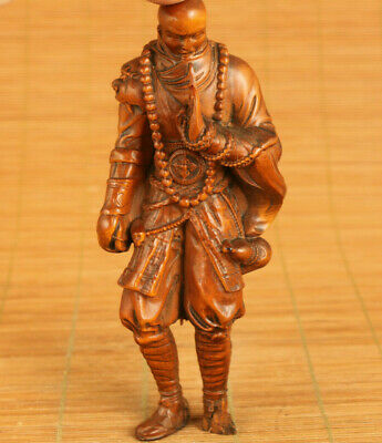 rare Asian old boxwood hand carved residual limb Bodhidharma statue decoration