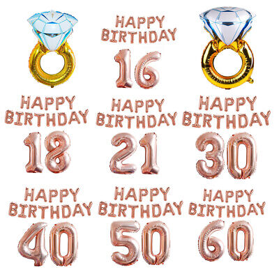 Rose Gold 18/21/30 Age Number Diamond Ring Foil Balloon Birthday  Curtain Decor