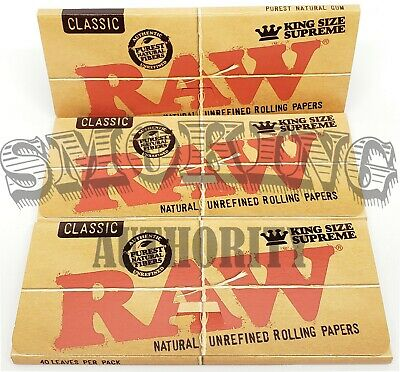 3 PACKS RAW CLASSIC ⭐️ KING SIZE SUPREME ⭐️ Natural Unrefined Rolling Papers ✓ ✓