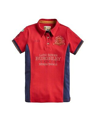*NEW* Joules Girls Official Burghley Horse Trials 2019 Polo Shirt - Red