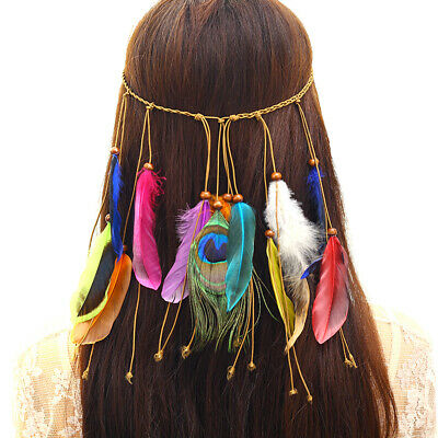 Feather Girl's Hippy Indian Feather Headband Hairband Chain Hair Band Jewelry