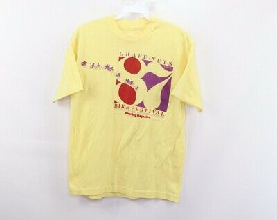 Vtg 80s Mens Small 1987 Grape Nuts Cereal Bike Festival Bicycling Magazine Shirt