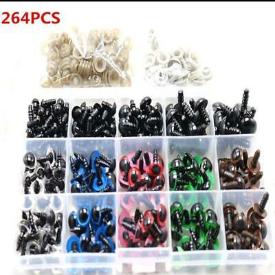 264Pcs 6~12mm DIY Colorful Safety Plastic Bear Doll Eyes Toy Craft with Washers