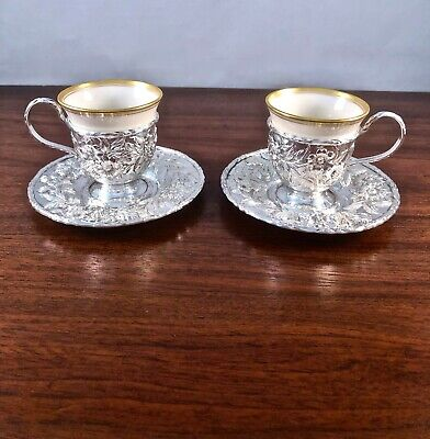 (2) Rare S. Kirk & Son Hand Decorated Sterling Silver Repousse Demitasse Cup Set