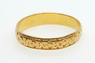 ANTIQUE LATE VICTORIAN ENGLISH 22K GOLD WEDDING BAND RING c1893