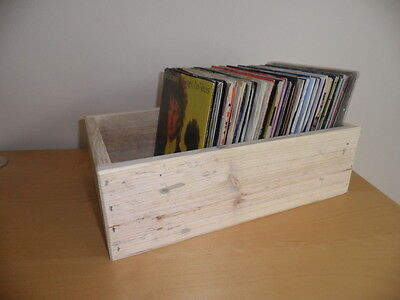 "Wooden Storage Box for 7"" vinyl  Record  / made from reclaimed wood / unpainted"