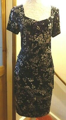 David Emanuel Long Black/Purple Multi Stretch Powerlined Tiered Dress 18/20 Nwot