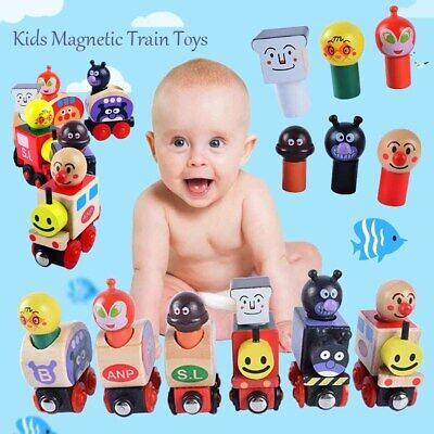 12PCS Kids Wooden Magnetic Train Puppet PuzzleToy Baby Model Toy Early Education