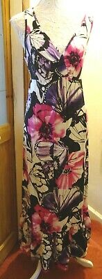 W @ Bhs Multi Colour Butterfly Print Sleeveless V-Neck  Maxi Dress 16/18 Bnwot