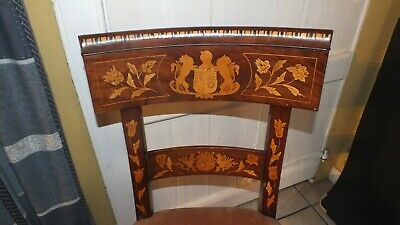 A Superb 19 century  Dutch  marquetry side chair with  2 coats of arms inlaid