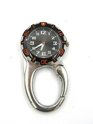 Belt Clip Unisex Quartz Watch with Dark Dial Analogue Display, Silver/Black Used