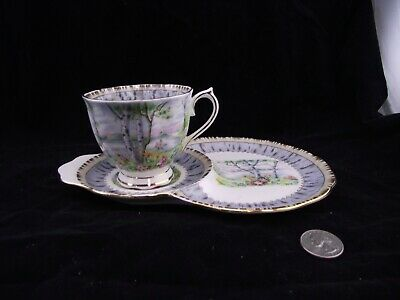 Royal Albert Silver Birch  Tea Cup And Snack Lunch Or Tennis Plates