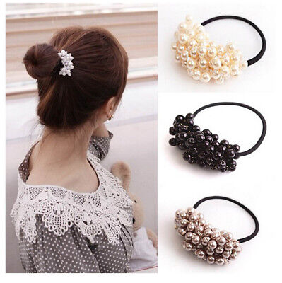Hair Accessories Pearl Elastic Rubber Bands For Women Girl Ponytail Holder 2Y