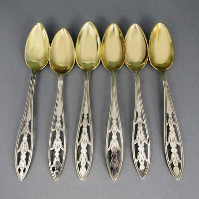 6 Antique Dessert Spoon Silver Gold Plated 1880