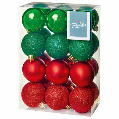 16 PACK SHATTERPROOF BAUBLES CHRISTMAS XMAS TREE DECORATIONS 40MM COLOUR CHOIC