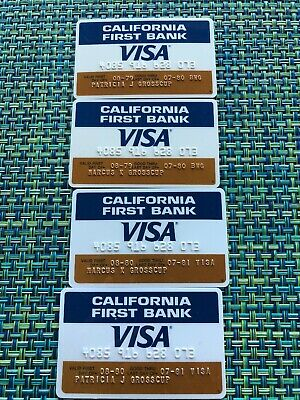 Vtg 1979-1980 Lot Of 4 California First Bank Visa Credit Card Unsigned