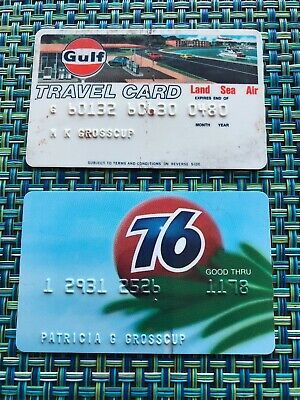 Vintage Two 1970s GULF OIL CORPORATION TRAVEL CREDIT CARD & 76 Credit Card