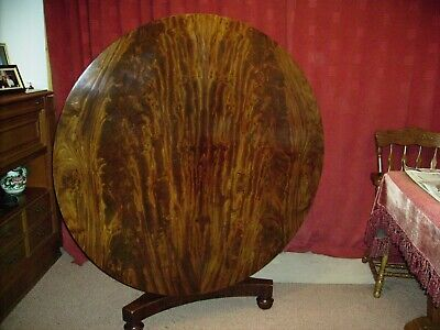 Antique  Victorian round tilt top breakfast/dining table including five chairs