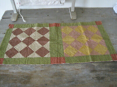 Old Primitive Hand Stitched Quilt Piece Fabric Textile American Country AAFA