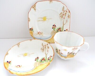 MELBA ART DECO TRIO SET CUP Saucer PLATE White Lemon Gold HAND DECORATED China
