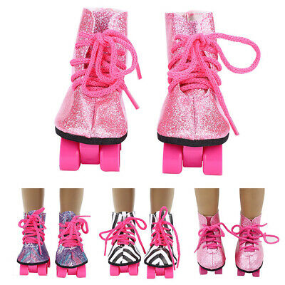 A Pair of Bling Roller Skates Shoes for 18 inch AG American Doll Doll Clothes