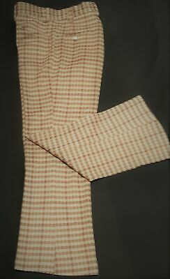 """Checked pants, camel/ brown,1960's, USA, by 'Kings Road', size S, 30"""""""