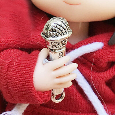 2Pcs 1:12 Doll House Accessories Prop Miniature Metal Microphone 2Y