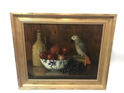 Antique Realist Kitchen Table Still Life Oil Painting With Apples And Parrot