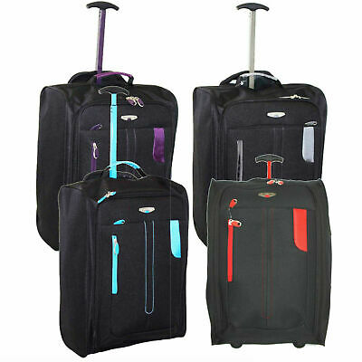 Lightweight Cabin Flight Bag Wheels Hand Luggage Holdall Travel Suitcase Bag UK