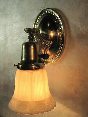 Single Polished Brass Wall Sconce with Frosted White Shade Rewired Works