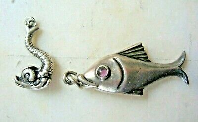 2 HUBERT HARMON VINTAGE 40'S MEXICAN STERLING SILVER FISH PENDANTS or CHARMS