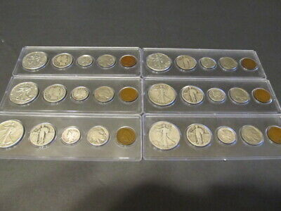 Old U.S. Silver Coins 5 Coin Collection Set - 90% Silver Type Coins For Sale
