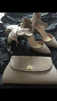 Rose Gold Fascinator, Shoes (UK Size 5) And Bag