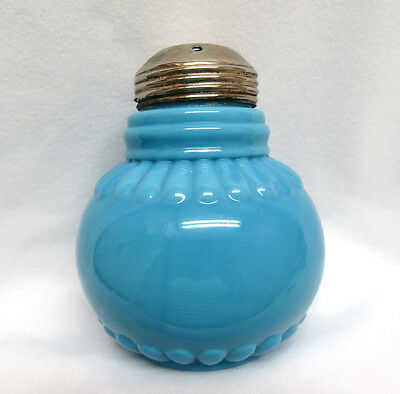 Blue Opaline Glass Sugar Shaker / Muffineer ~ Metal Collar Around Neck