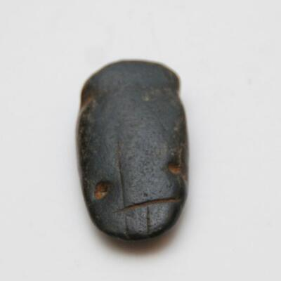 "PRE-COLUMBIAN Black Carved Stone_Face_Pectoral Artifact_Amulet_1 3/4"" h"
