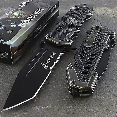 "9"" USMC MARINES TANTO SPRING ASSISTED TACTICAL FOLDING POCKET KNIFE Blade Open"