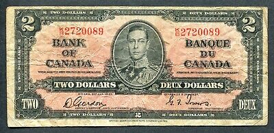 Bank Of Canada 1937 $2 Bank Note
