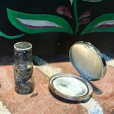 Antique Mini Silver Repousse Glass Perfume Bottle & Art Deco Pill Box Compact