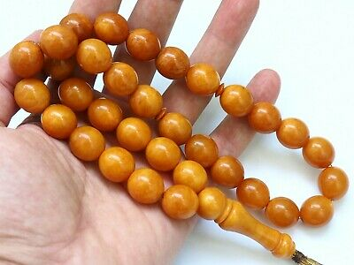 Natural Butterscotch Yolk Baltic Amber Beads Rosary Kahrman Misbah Tesbih 61 gr