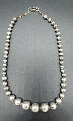 Antique Iguala Mexico Child's Sterling Graduated Ball Bead Necklace 11 Grams