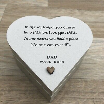 Shabby Personalised Chic In Memory Of A DAD Or ANY Loved One Heart Box Mum Nana