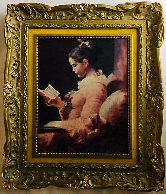 Vintage Print Painting On Canvas Baroque Style Portrait A Young Lady Reading