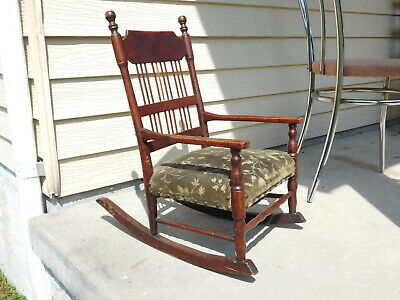 Antique Victorian CHILD'S Wood ROCKER Rocking Orig Mohair Seat CHAIR Old Patina