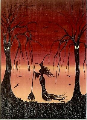 ACEO ORIGINAL Miniature Painting Witch Fantasy Forest Spooky Halloween HYMES