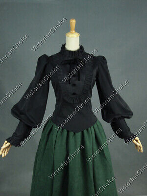 Victorian Steampunk Romantic Gothic Black Blouse Shirt Top Punk Cosplay B187 L
