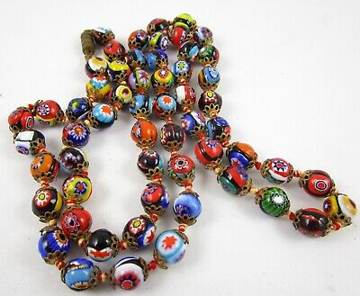 Beautiful Vintage Venetian Murano Millefiori Art Glass Beaded Long Necklace 28""