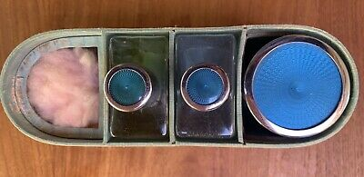 Estate Vintage Faux Guilloche Scent Bottles And Jar In Toiletries Box