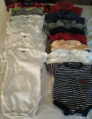 BABY BOY'S ONE PIECE SHIRTS LOT OF 17 PRE-USED SIZES 0-9mos GOOD CONDITION
