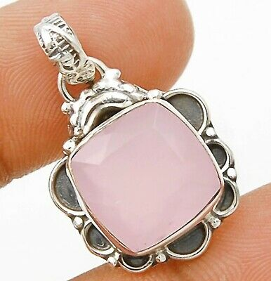 SALE Faceted Rose Quartz 925 Solid Sterling Silver Pendant Jewelry, C29-7