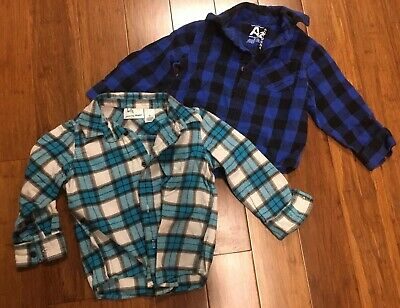 2-pc Lot Toddler Boys Button Up Plaid Long Sleeve Shirts Size 3T